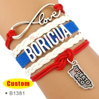 Wholesale Blue Infinity Bracelets - (10 Pieces Lot) High Quality Infinity Love Puerto Rico Boricua Bracelet Blue Red White Custom Any Themes Drop Shipping