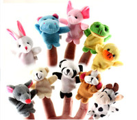 Wholesale Orange Baby Doll - Baby Plush Toy Finger Animals Puppets Talking Props Cute Cartoon Finger Doll Kids Toys DHL free shipping