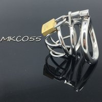 Wholesale Male Stainless Steel Curved - Stainless Steel Super Small Male Chastity device Adult Cock Cage With Curve Cock Ring BDSM SexToys Bondage Chastity belt prison bird MKC055