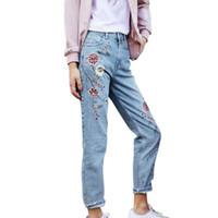 Wholesale Girls Stripe Capris - Wholesale- 2017 Women Girls Flower Embroidery Jeans Light Blue Casual Capris Autumn Pockets Straight Jeans Female Bottom Pants
