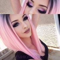 Wholesale Short Dark Pink Cosplay Wig - Dark black root pink synthetic lace front wig 10-16 inch short straight hair bob lace wig africa american cosplay wig for woman