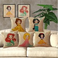 Wholesale Princess Pillow Cases - 17.5 inches* 17.5inches Cartoon Mermaid Princess Cushion Covers Little Girl Decorative Pillow Cover Linen Pillow Case