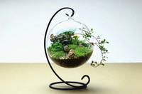 vase transparent achat en gros de-1SET Verre Transparent Bouteille Ronde En Verre avec 1 Trou Fleur Plante En Métal Stand Vase Suspendu Aucune plante Hydroponique Home Office Decor Vase G161