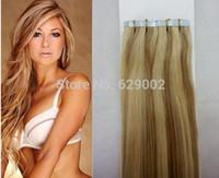 saç uzatmaları renk 27 toptan satış-Piyano Rengi # 27/613 40 parça 100g Brezilyalı Hint Saç 12 '' -28 '' İnsan Saç Uzantıları yılında Remi Bant Bant Saç Uzantıları