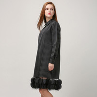 Wholesale Stripe See Through Dresses - [TWOTWINSTYLE] 2016 Autumn Stripes Splicing Pieces Gauze See Through Long Sleeve Dress Women New Clothing Fashion