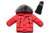 Wholesale Hair Jacket - Children's thickening cotton boy boy and girl Korean version of the hand-held cotton in the children's solid color big hair baby down jacket