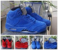 Wholesale Blue Reflective Fabric - 2017 New Air Retro 5 V Raging Bull Red Suede Blue Reflective Men Basketball Shoes Top Quality Retros 5s Sports Sneakers Size 36-47