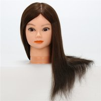 Wholesale hairdressing training head practice - 24'' Female Hair Styling Mannequins Head Hairdressing Training Model Head Human Hair with Protein Mixture Hair Practice Mannequin Head