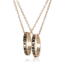 Wholesale Pearl Parts - Silver & Gold BFF Best Friends Forever 2 Part Love Rings Eternity Necklaces Gold Silver Plated Pendant Necklaces Jewelry Charm Jewellry