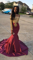 Wholesale Little Girl Art - Charming African Style Off Shoulder Prom Dresses 2017 Gold And Burgundy Evening Gowns For Black Girls Long Sleeve Sweep Train Formal Dresses