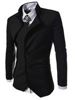 Wholesale Plain Blazers - Wholesale- Abetteric Men's Hipster Unbalanced Plain 2 Buttons Blazer Outwear Suit
