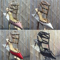 Wholesale Shoe Nude Patent Leather - 6.5CM New 2106 Hot Women patent leather Pumps Ladies Sexy Pointed Toe High Heels Fashion Buckle Studded Stiletto High Heel Sandals Shoes