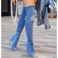 ingrosso stivaletti per le donne-2017 donne calde stivali estate autunno peep toe stivali sopra il ginocchio qualità alta elastico jeans moda stivali tacchi alti dimensioni
