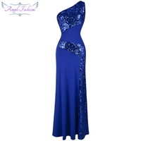 Wholesale One Shoulder Maxi Dresses - Angel-fashions Women's Twinkling One Shoulder Sequins Collage Slim Maxi Party Dresses Prom Gowns Red Carpet Dress 068