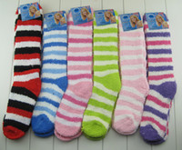 Wholesale Thick Fuzzy Socks - Solid Winter Warm Long Knee Hi Striped Assorted Thick Soft Cozy Fuzzy Socks 12pairs lot Free Shipping