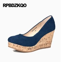 Wholesale Wooden Leather High Heels - Women Plus Size Platform Genuine Leather Pumps Top Quality High Heels Brand Shoes 2017 4 34 Small Wooden Blue Wedge Round Toe