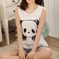 Wholesale Girls Panda Pajamas - Wholesale- Hot Summer panda Pajamas set sleeveless sleepwear animals printed womens girls Pyjamas cartoon vest pajamas suit