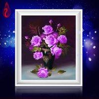Wholesale Rectangle Cube - YGS-92 DIY 5D Diamonds Embroidery Purple Rose Vase Magic Cube Round Diamond Painting Cross Stitch Kits Diamond Mosaic Home Decor