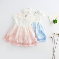 Wholesale Tiny Dresses - Sweet Kids Girls New Style Petal Pan Collar Embroidery Summer Dress Tiny Freshness Ruffles Wholesale Kids Dress