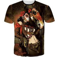31ab04bacf Camiseta atractiva de la mujer del cráneo del caballo de la pistola del  vestido corto de la manga Camisetas agradables del diseño Ropa de la  impresión de la ...