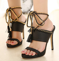 Wholesale High Heel Sandals Sexy Strappy - The New Summer Ladies Sexy High-heeled Strappy Sandals
