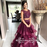 Wholesale Sweets Scoop - Two Piece Burgundy Red Prom Dresses Scoop Neck Cap Sleeves Beading Tulle Ball Gown Prom Dresses Sweet 16 Gowns