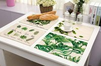 Wholesale Green Kitchen Table - Popular 42x32cm Green Leaves Pattern Cotton Linen Western Pad Placemat Insulation Dining Table Mat Bowls Coasters Kitchen Accessories