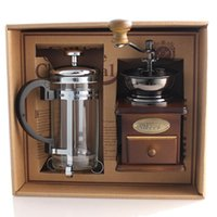 Glass Stocked no Free Shipping !Coffee equipment coffee grinder + coffee pressure pot Manual Bean grinding machine Gift Box 1 set
