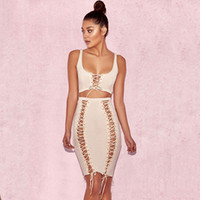 Sexy Summer Sleeveless Dress Fashion Two Piece Set Dresses 2017 Hollow Out Party Dresses Cheap Bandage Bodycon Платье Онлайн Продажа