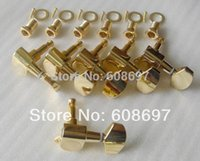 Wholesale Gold Tuning Heads - Guitar parts 6pcs in line electric guitar tuners Gold guitar machine heads 10mm closed tuning keys