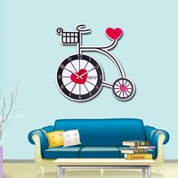 Wholesale Clock Bike - Countryside Design Cartoon Bicycle Silence Movement With Heart Clock Handmade Vintage Bike Mute Table Clocks Home Decor