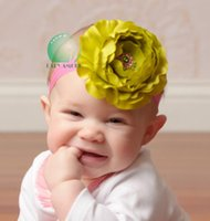 Hooyi Big Rose Blume Baby Mädchen Hairbands Bling Diamant Perle Kinder Stirnband Kinder Bandanas Haar Bands Tiaras Barrettes H2