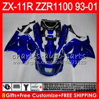 Wholesale 93 Zx 11 Fairings - 8Gifts For KAWASAKI NINJA ZX11 ZX11R 93 01 94 95 96 97 ZZR 1100 22HM2 blue black ZZR1100 ZX-11R ZX-11 1993 1994 1995 1996 1997 Fairing Kit