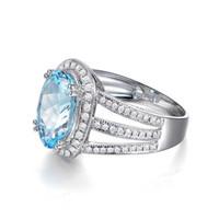 Wholesale Diamond Aquamarine Engagement Rings - Free Shipping Solid 14k White Gold Genuine Natural Sparkly Aquamarine Engagement Diamond Ring(R0131)