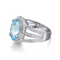 Spedizione gratuita Solid 14k White Gold Genuine Natural Sparkly Aquamarine Anello di fidanzamento con diamante (R0131)