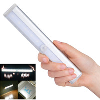 Wholesale Wall Lights For Stairs - Led Light Wireless Motion Sensor 10LED Night Light Wall Light White Hot Lamp Powered By Battery For Stairs Bedroom Cabinet Cupboard