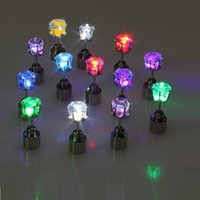 Wholesale Fine Lead Crystal - Charm LED Stud Earring Ladies Crown Glowing Crystal Funny Earrings Women Fine Fashion Jewelry For Dance Party S201740