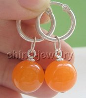 Wholesale Jade Round Silver Earrings - E4651-12mm natural perfect round orange jade earring - 925 silver hoop