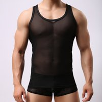 Wholesale Polka Dot Temptations - 2017 New Round Neck Transparent sexy Perspective Vest Temptation Summer Essential Vest Men's net yarn narrow Shoulder round Neck Vest