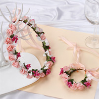 Wholesale Dress Bouquet - Flower Hand Band Summer Seaside Beach Flowers Hair Band Bohemian Dress Bridesmaid Wreath Lead The Role Hair Band Handwear Wedding Decoration