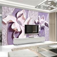 Wholesale Modern Magnolia - Large seamless 3 d TV setting wall wallpaper seamless bedroom wall mural cloth embossed purple magnolia