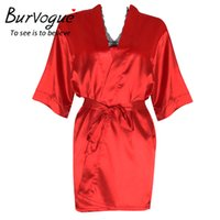 Großhandel-Burvogue Nightgown Frauen Sexy Silk Fleck Robe Nightgown Nightdress Set Nachtwäsche Nightgown Dessous Pyjamas Set Spitze Robe Sets
