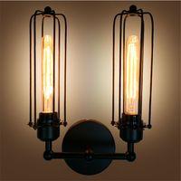 lámparas de bar rústico al por mayor-Lámpara de hardware retro industrial de hierro antiguo vintage con E27 bombilla Edison RH loft DIY Edison lámpara de pared rústica para bar Hotel iluminación interior