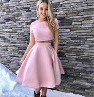 Wholesale Cheap Fancy Party Dresses - Pink Two Pieces Short sleeve Homecoming Dresses Jewel Knee Length Party Dresses Fancy cheap Satin Special occasion Gowns