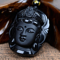 Wholesale Natural Jade Beads Necklace - Bead Curtain Natural Obsidian Scrub Pendant Black Guanyin Head Pendants Transhipped Buddha Head