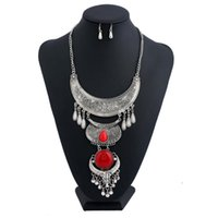 Tauren Flower Tassel Ethnic Silver Plated Maxi Boho 2017 Red Gem Water Drop Multi Layer Collier Pendentif pour Femmes Bijoux Vintage Fashion
