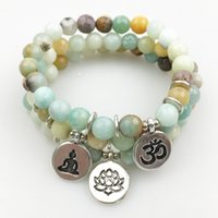 Wholesale faceted strands natural stones for sale - Group buy SN1177 New Women s Bracelet Natural Stone Yoga Bracelets Fashion Design Faceted A mazonite Lotus Ohm Buddha Bracelet