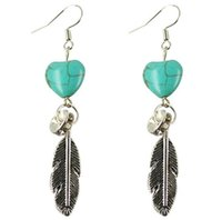 Wholesale Turquoise Earrings Bride - 2018 charm DIY Gorgeous Bohemia turquoise feather Plated Bride Pendant earrings Personalized Women Jewelry 30Pairs  lot 11
