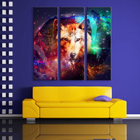 Ensemble De Peinture De Salon Pas Cher-Panel Canvas Wall Art Le Wolf LED clignotant Imprimé Longeur LED Canvas Set de peinture de 3 pour le salon de la maison