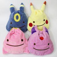 Wholesale Small Ears Cartoons - 4styles poke plush drawstring bag 20*20cm 3D ears bag pikachu Umbreon Eevee kids cute small pouch buggy bag